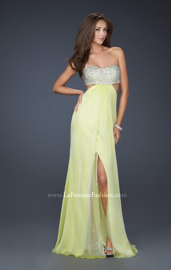 Picture of: Strapless Chiffon Gown with Beaded Bodice, Style: 16291, Detail Picture 2