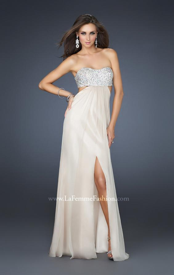 Picture of: Strapless Chiffon Gown with Beaded Bodice, Style: 16291, Detail Picture 4
