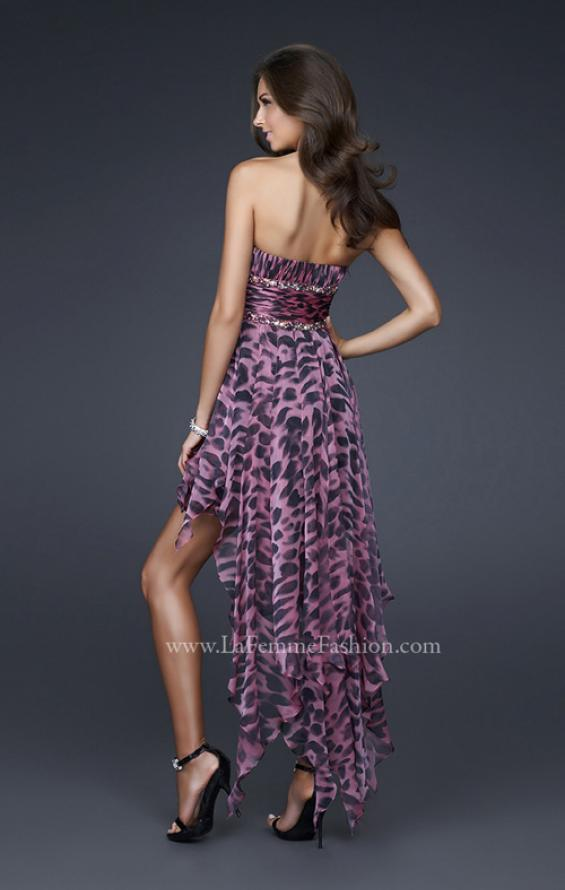 Picture of: High Low Animal Print Chiffon Prom Dress with Ruffles, Style: 16293, Back Picture