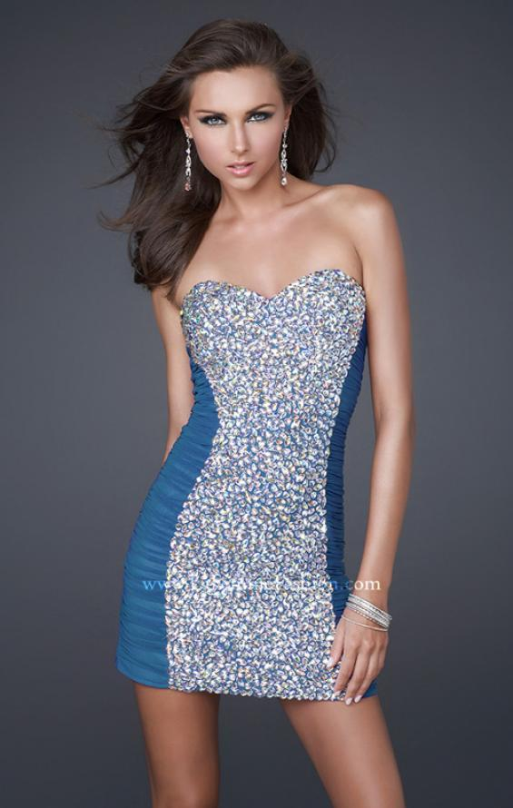 Picture of: Strapless Short Cocktail Dress with Jeweled Front in Blue, Style: 16368, Detail Picture 4