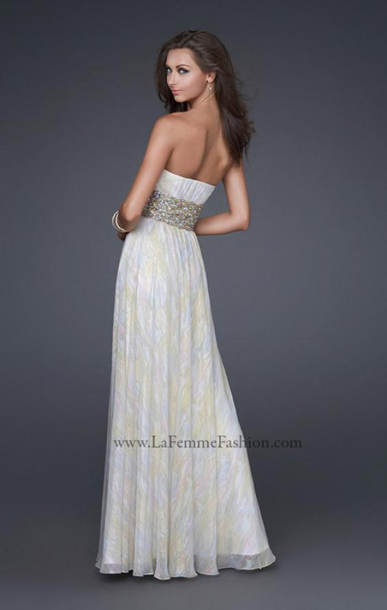 Picture of: Strapless Chiffon Gown with Beaded Waist and Front Slit, Style: 16372, Back Picture