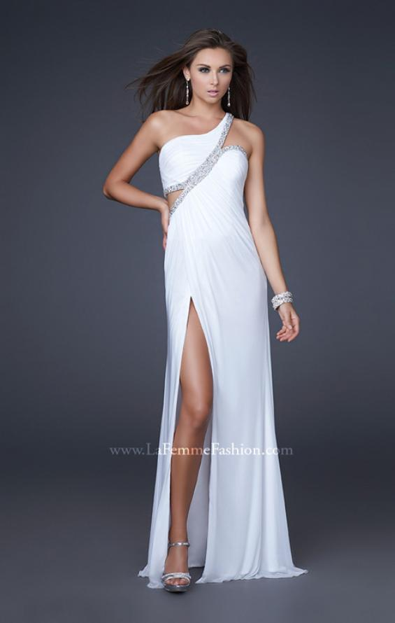 Picture of: One Shoulder Prom Dress with Jeweled Trim in White, Style: 16379, Main Picture