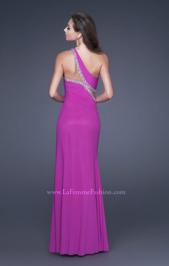 Picture of: One Shoulder Prom Dress with Jeweled Trim in Purple, Style: 16379, Back Picture
