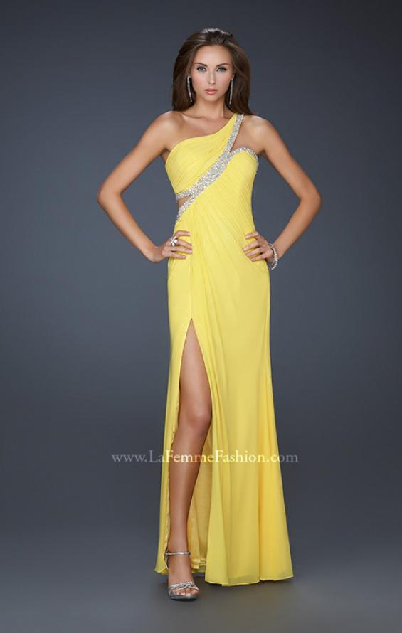 Picture of: One Shoulder Prom Dress with Jeweled Trim in Yellow, Style: 16379, Detail Picture 1