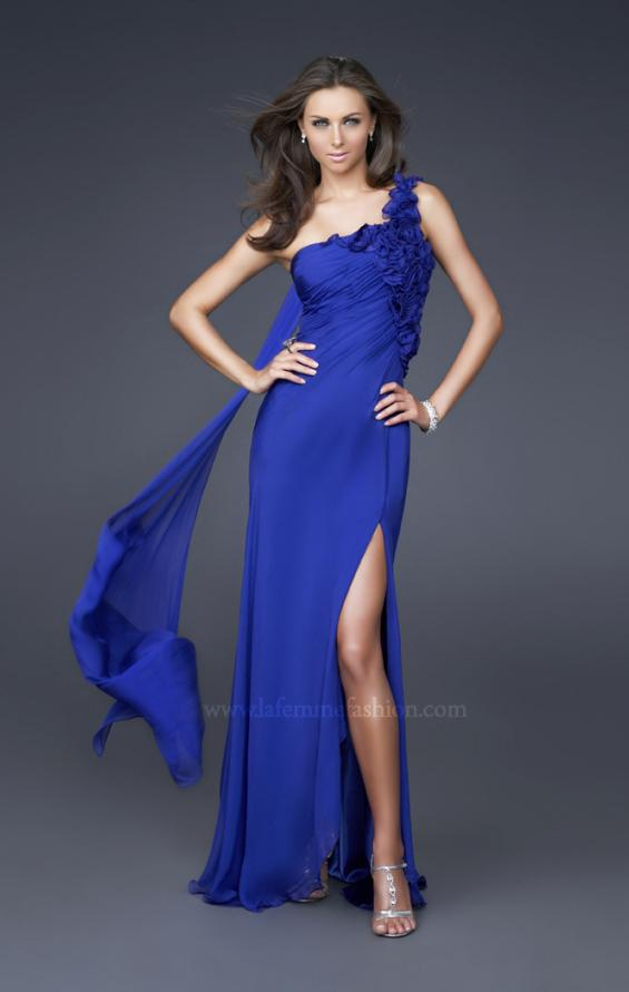 Picture of: Long One Shoulder Ruched Chiffon Gown with Ruffles in Blue, Style: 16391, Main Picture