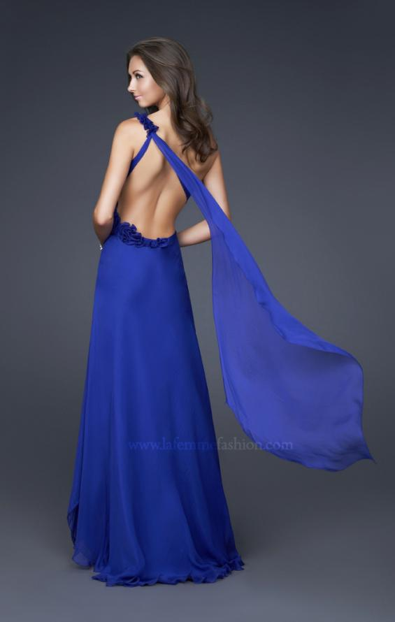 Picture of: Long One Shoulder Ruched Chiffon Gown with Ruffles in Blue, Style: 16391, Back Picture
