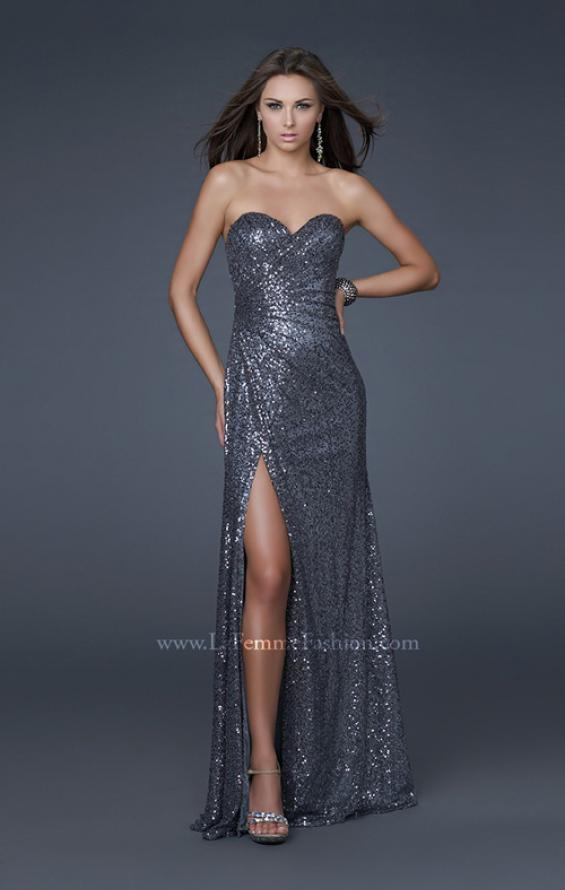 Picture of: Sweetheart Neckline Prom Gown with Gathers and a Slit in Silver, Style: 16546, Main Picture