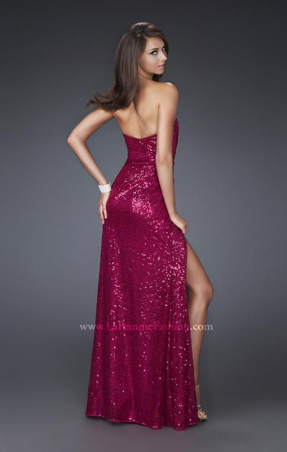 Picture of: Sweetheart Neckline Prom Gown with Gathers and a Slit in Red, Style: 16546, Back Picture