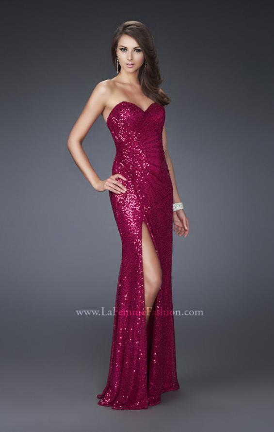 Picture of: Sweetheart Neckline Prom Gown with Gathers and a Slit in Red, Style: 16546, Detail Picture 1
