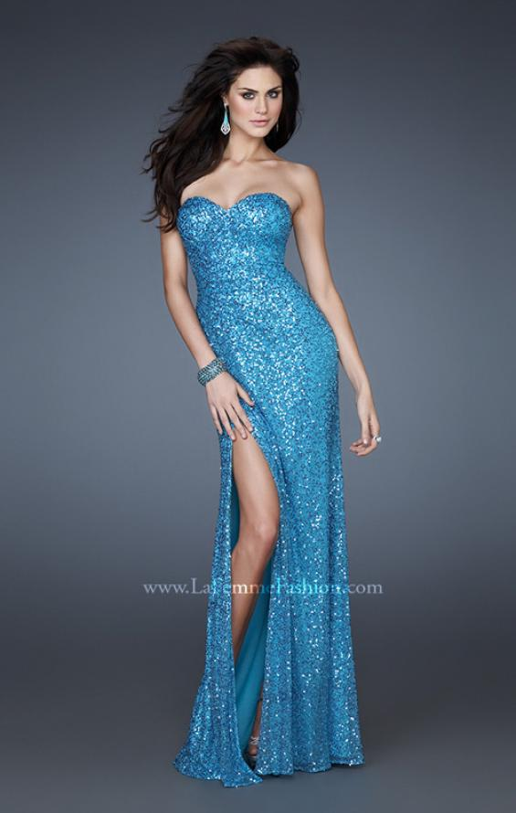 Picture of: Sweetheart Neckline Prom Gown with Gathers and a Slit in Blue, Style: 16546, Detail Picture 2