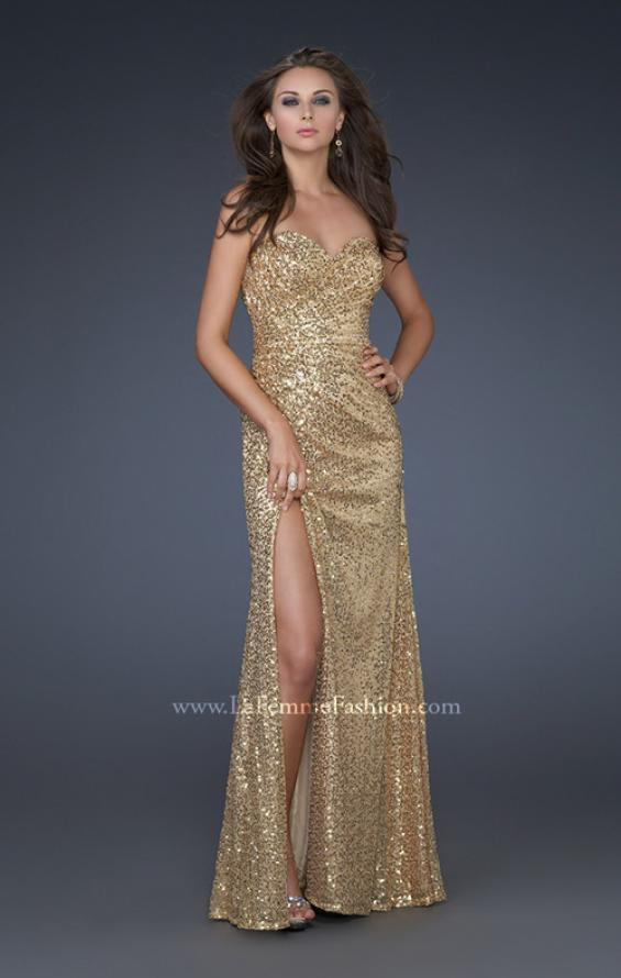 Picture of: Sweetheart Neckline Prom Gown with Gathers and a Slit in Gold, Style: 16546, Detail Picture 3