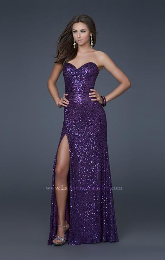 Picture of: Sweetheart Neckline Prom Gown with Gathers and a Slit in Purple, Style: 16546, Detail Picture 4