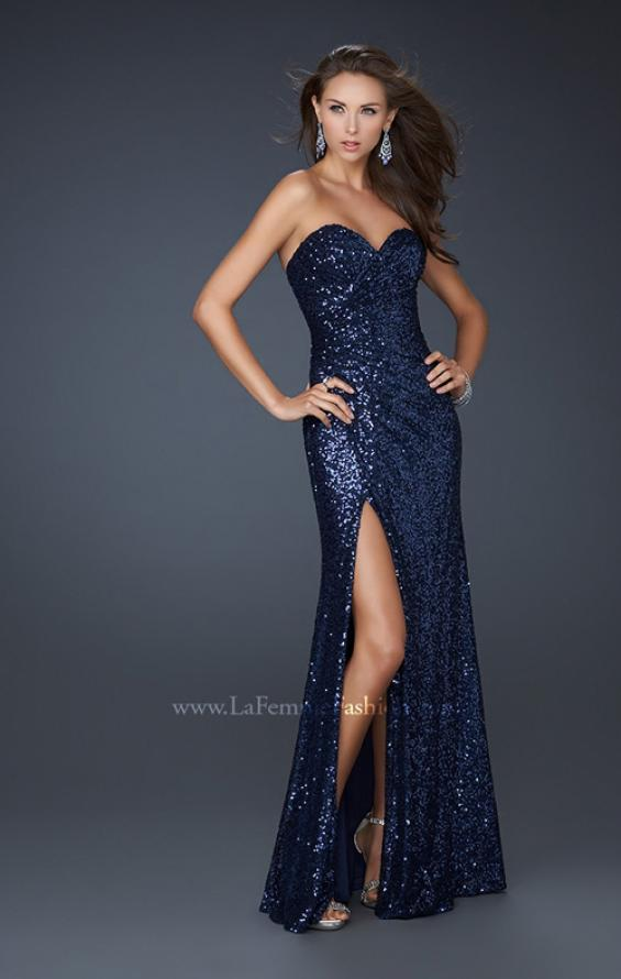 Picture of: Sweetheart Neckline Prom Gown with Gathers and a Slit in Navy, Style: 16546, Detail Picture 5