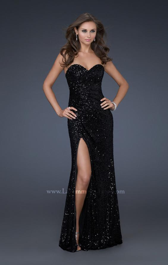 Picture of: Sweetheart Neckline Prom Gown with Gathers and a Slit in Black, Style: 16546, Detail Picture 7