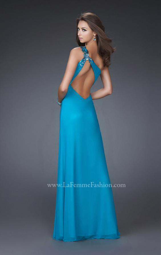 Picture of: One Shoulder Net Prom Gown with Intricate Design in Aqua, Style: 16687, Back Picture