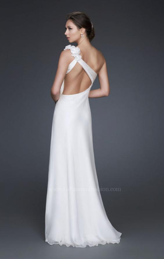 Picture of: One Shoulder Silk Chiffon Gown with Beading and Flowers in White, Style: 16747, Back Picture