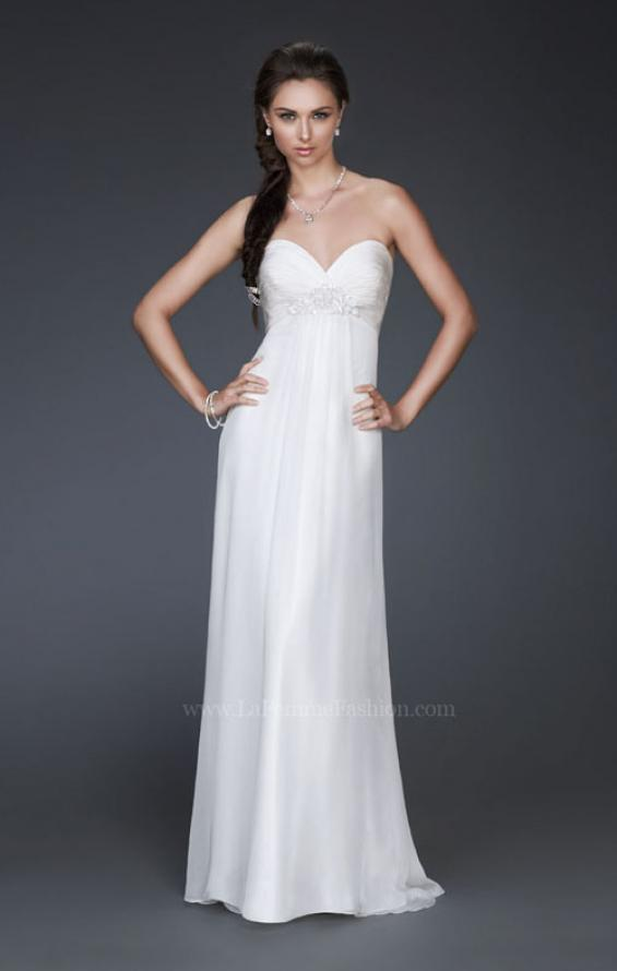 Picture of: Strapless Silk Chiffon Dress with Pleated Bodice in White, Style: 16757, Main Picture