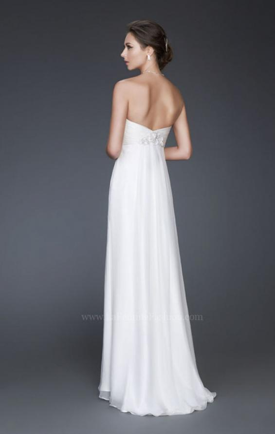 Picture of: Strapless Silk Chiffon Dress with Pleated Bodice in White, Style: 16757, Back Picture