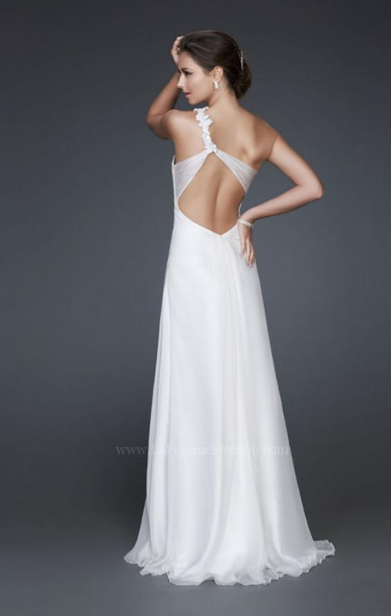Picture of: Ruched Bust Prom Dress with Beaded Floral Strap, Style: 16760, Back Picture