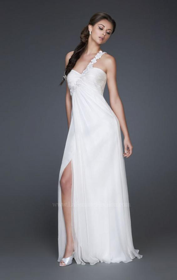 Picture of: Ruched Bust Prom Dress with Beaded Floral Strap, Style: 16760, Detail Picture 1