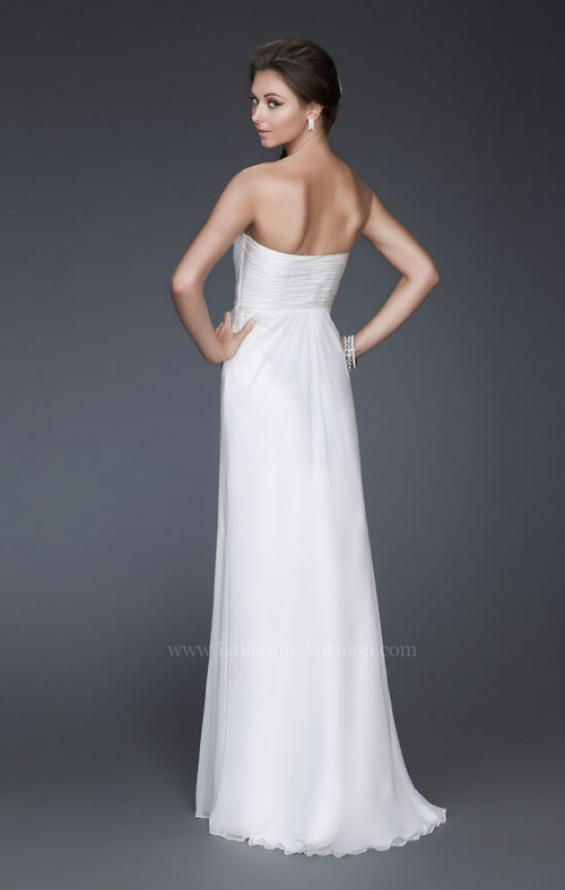 Picture of: Long Strapless Silk Chiffon Dress with Flower Embellishments in White, Style: 16763, Back Picture