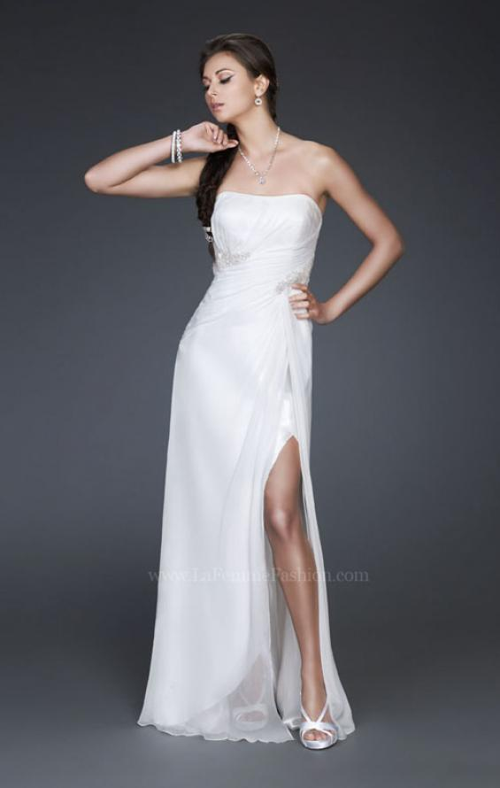 Picture of: Simple Silk Prom Dress with Beaded Waist and Front Slit, Style: 16769, Main Picture
