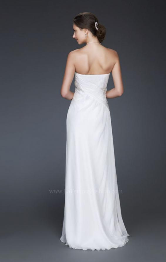Picture of: Simple Silk Prom Dress with Beaded Waist and Front Slit, Style: 16769, Back Picture