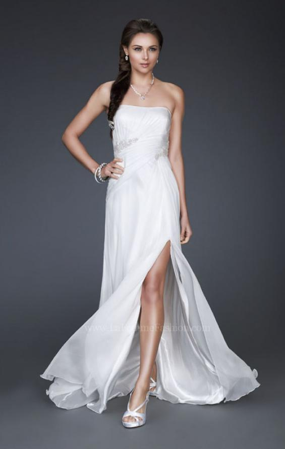 Picture of: Simple Silk Prom Dress with Beaded Waist and Front Slit, Style: 16769, Detail Picture 1