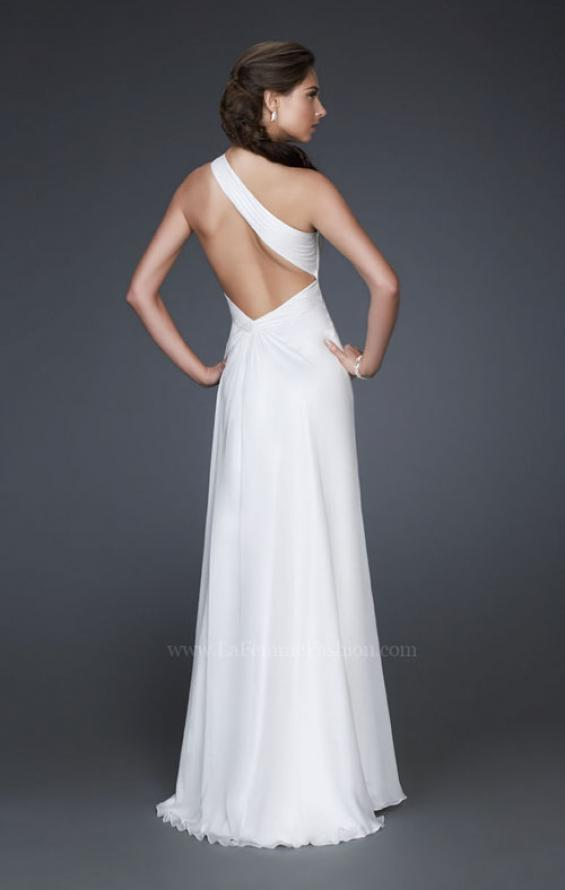 Picture of: One Shoulder Silk Chiffon Gown with Flower Accents, Style: 16770, Back Picture