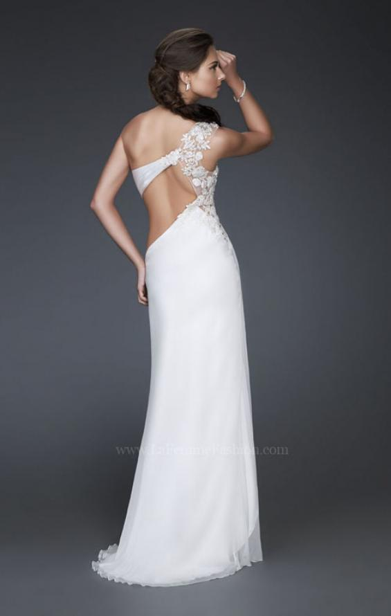 Picture of: Long One Shoulder Prom Dress with Pleated Bodice in White, Style: 16771, Back Picture