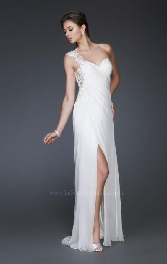 Picture of: Long One Shoulder Prom Dress with Pleated Bodice in White, Style: 16771, Detail Picture 1