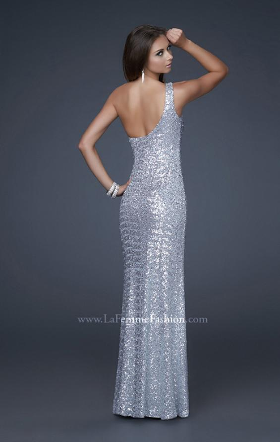 Picture of: Trendy One Shoulder Ombre Sequined Dress with Slit in Silver, Style: 16800, Back Picture