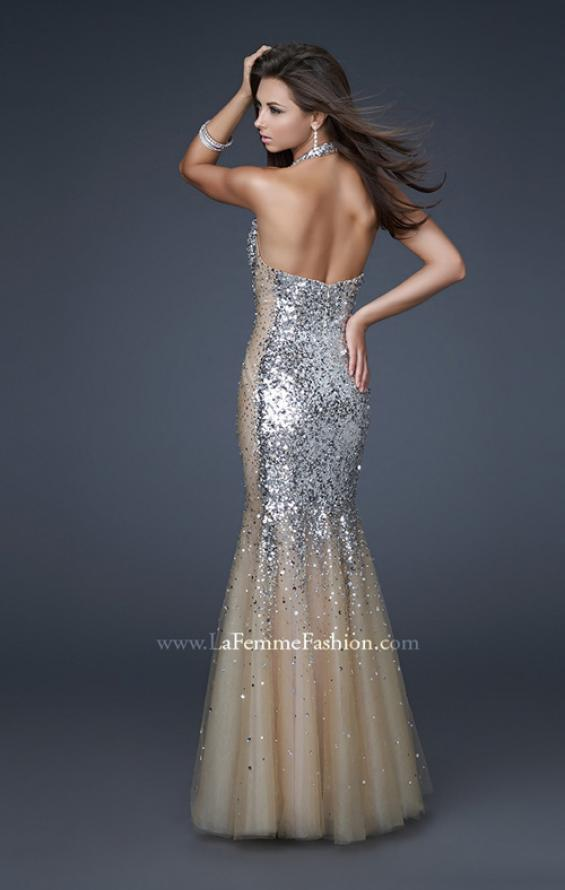 Picture of: Sequined Halter Mermaid Prom Dress with Tulle in SIlver, Style: 16804, Back Picture