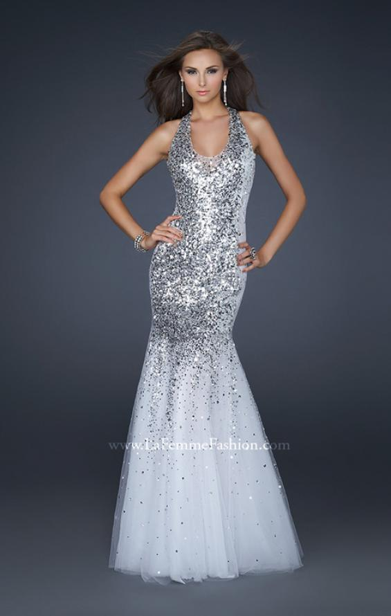 Picture of: Sequined Halter Mermaid Prom Dress with Tulle in White, Style: 16804, Detail Picture 1