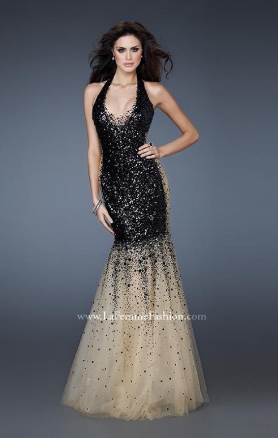 Picture of: Sequined Halter Mermaid Prom Dress with Tulle in White, Style: 16804, Detail Picture 2