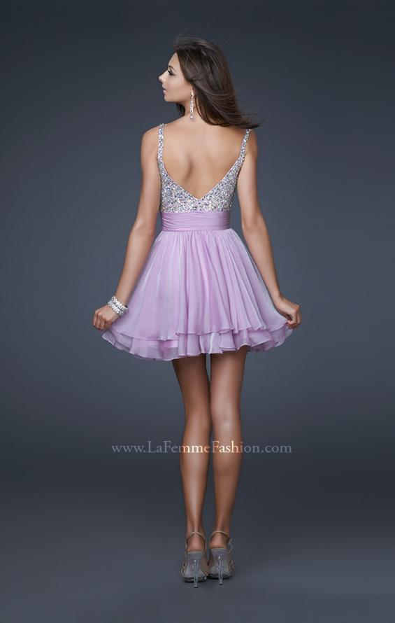 Picture of: Short Dress with Fully Embellished Top and Tulle in Lavender, Style: 16813, Back Picture