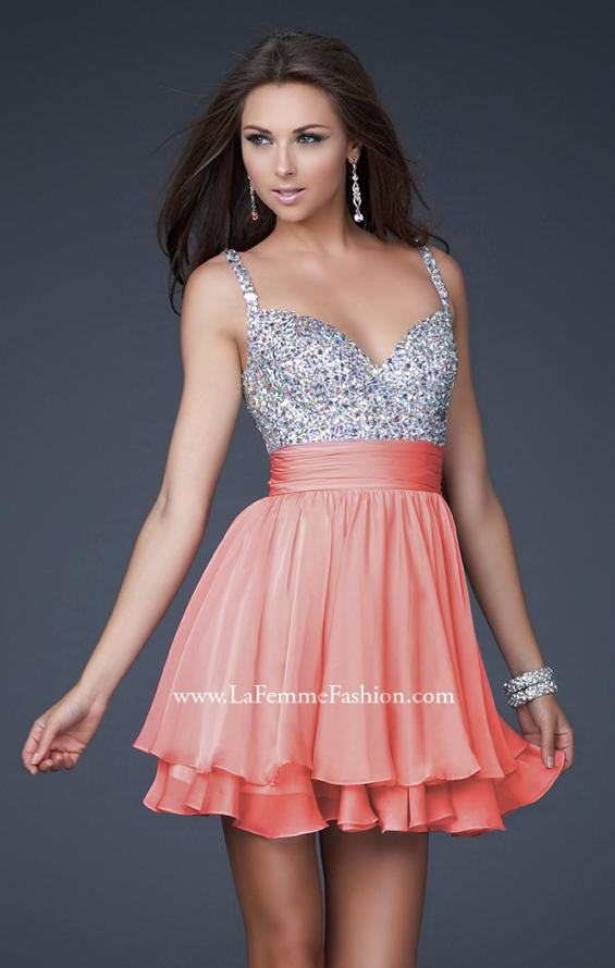 Picture of: Short Dress with Fully Embellished Top and Tulle in Orange, Style: 16813, Detail Picture 2
