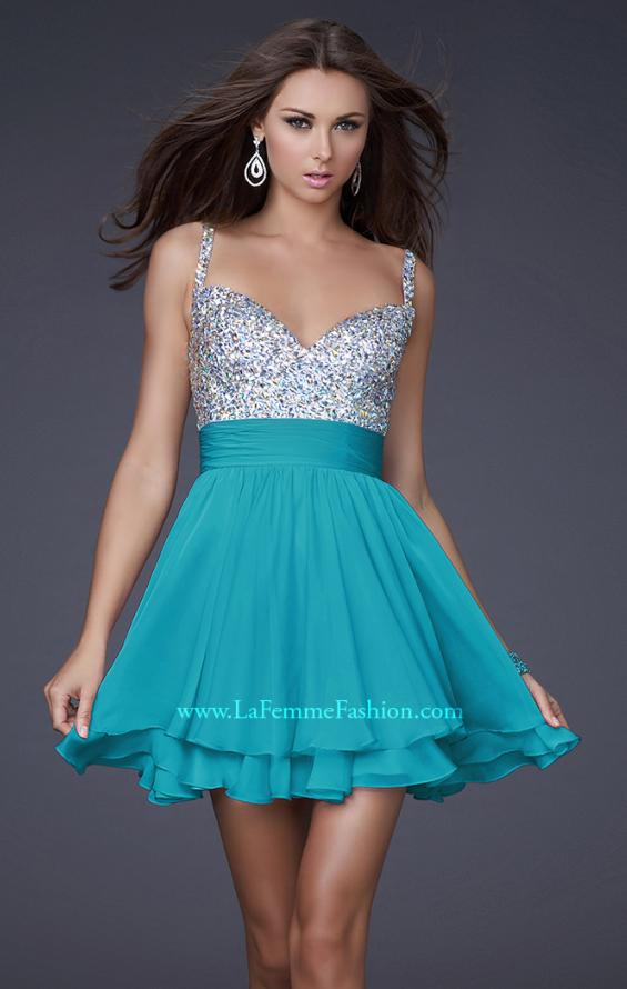 Picture of: Short Dress with Fully Embellished Top and Tulle in Aqua, Style: 16813, Detail Picture 4