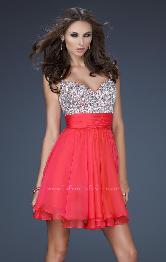 Picture of: Short Dress with Fully Embellished Top and Tulle in Red, Style: 16813, Detail Picture 5