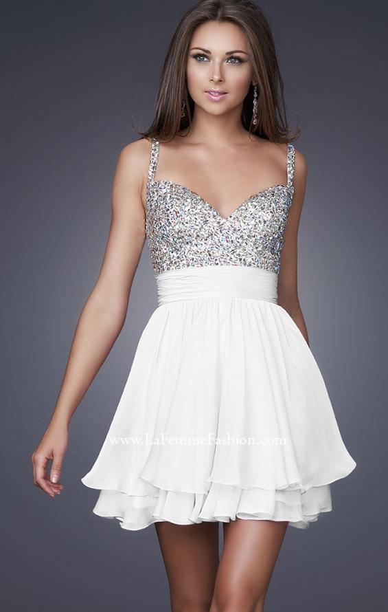Picture of: Short Dress with Fully Embellished Top and Tulle in White, Style: 16813, Detail Picture 6