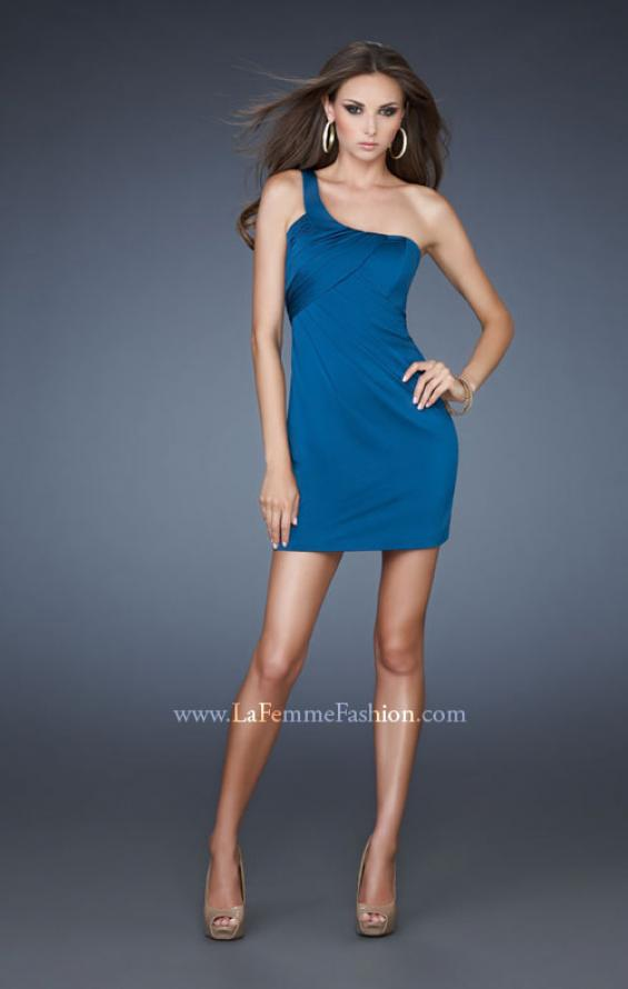 Picture of: Cocktail Dress with Pleats and Cut Out Back in Blue, Style: 16887, Main Picture
