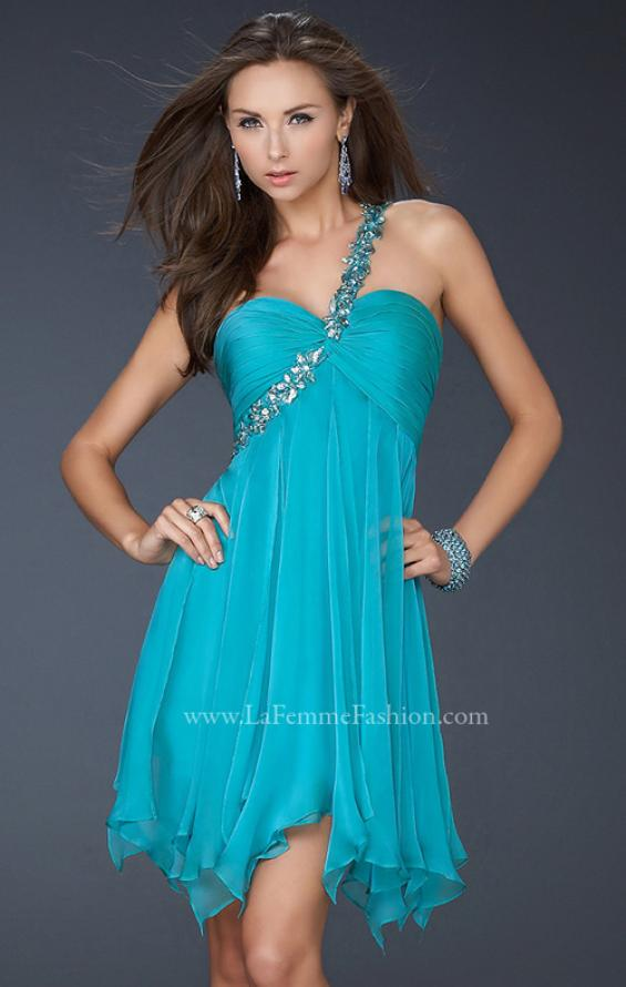 Picture of: One Shoulder Short Dress with Pleated Top and Open Back in Aqua, Style: 16903, Main Picture