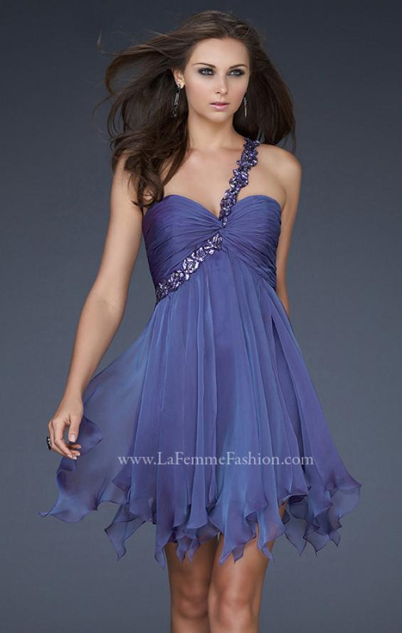 Picture of: One Shoulder Short Dress with Pleated Top and Open Back in Blue, Style: 16903, Detail Picture 1