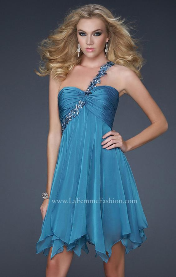 Picture of: One Shoulder Short Dress with Pleated Top and Open Back in Blue, Style: 16903, Detail Picture 2