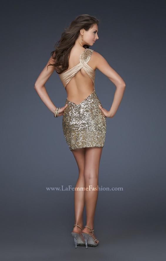 Picture of: Textured Sequin Short Dress with Pleated Lace and Beads in Gold, Style: 16905, Detail Picture 2