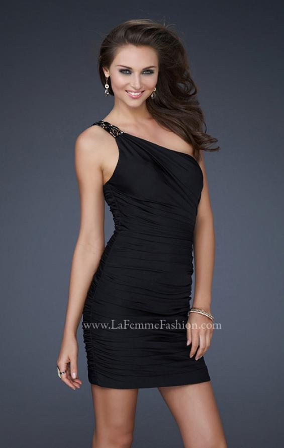Picture of: Fully Pleated One Shoulder Short Dress with Gold Accents, Style: 16910, Main Picture