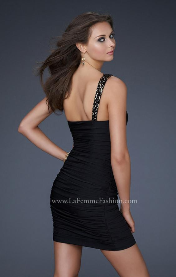 Picture of: Fully Pleated One Shoulder Short Dress with Gold Accents, Style: 16910, Back Picture