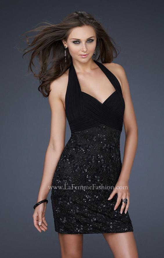 Picture of: Halter Top Cocktail Dress with Sequin Fabric and Pleats in Black, Style: 16933, Main Picture