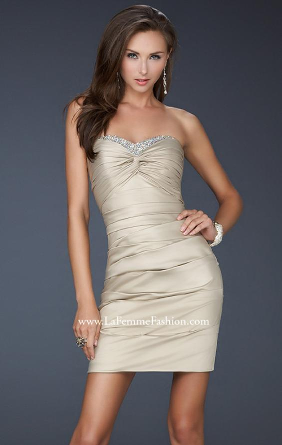 Picture of: Strapless Short Dress with Gems and Pleating in Gold, Style: 16934, Main Picture