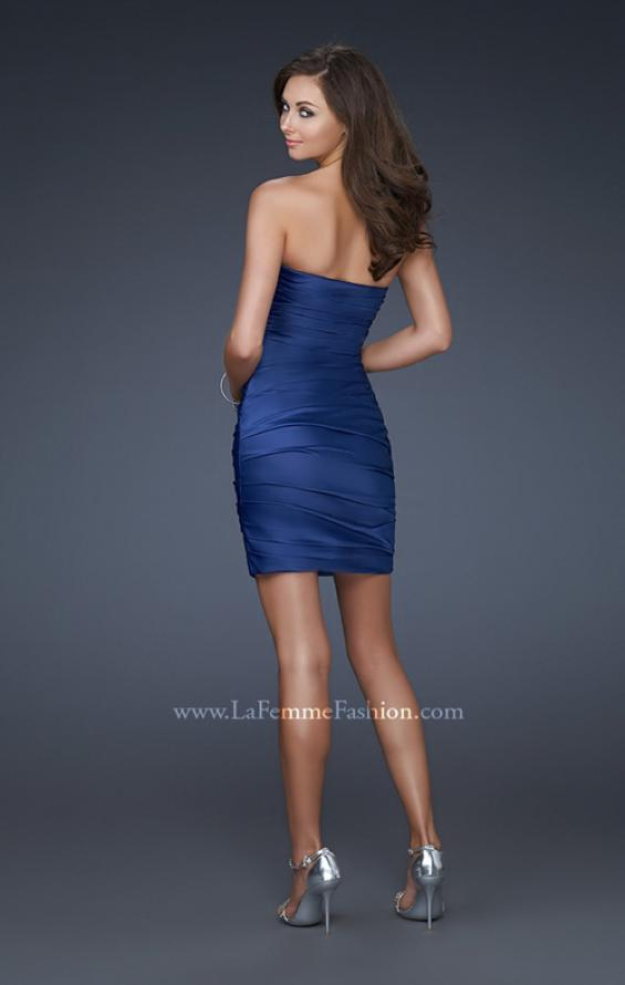 Picture of: Strapless Short Dress with Gems and Pleating in Blue, Style: 16934, Back Picture